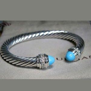 DAVID YURMAN 7MM Turquoise/Diamond Cuff Bracelet